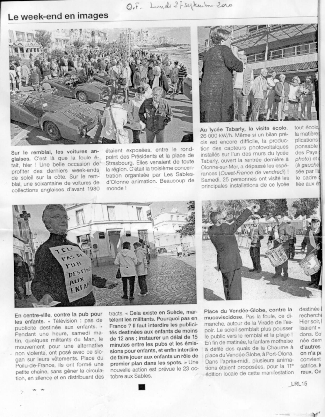 Extrait du journal Ouest France 27 septembre 2010 - Télé, pas de pub